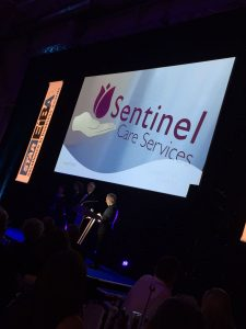 Sentinel's name in lights at the awards ceremony.