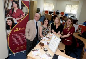 LAST ALAN EVANS COPYRIGHT EXPRESS & STAR 07/04/17 Shropshire Business Awards feature. Sentinel Care Services at Stafford Park. Steve Harris the MD, Vicky James, Stephanie Bodkin and Emily Clarke